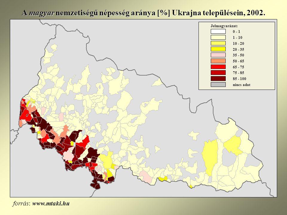 A magyar nemzetiségű népesség aránya [%] Ukrajna településein, 2002.